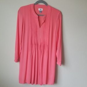 Old Navy Coral Tunic Tops Long Sleeve Low V Neck